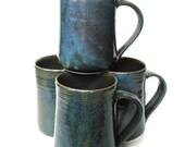 Set of 4- 16 oz Handmade Ceramic Mug -- Twilight (Blue ) -- Hand crafted pottery-- Large hand thrown coffee, cocoa mug.