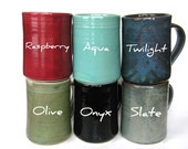 YOU CHOOSE COLOR-- Large Mug-- Hand crafted ceramic pottery--  16 oz coffee, cocoa, tea or iced drink cup. Dishwasher and microwave safe.