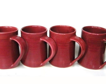 Set of 4 Large Handmade Ceramic Mug -- Raspberry Red -- 16 oz Hand crafted cup for tea, cocoa and coffee