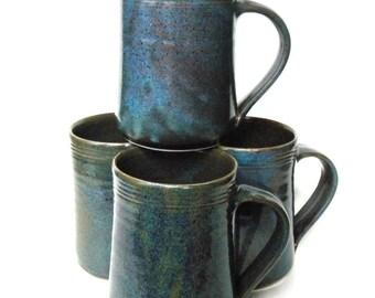Set of 4 Ceramic Handmade Mugs -- Twilight Blue Galaxy Hand thrown pottery coffee mugs -- handmade ceramic mug set