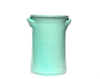 Aqua Blue Kitchen Spoon Jar with Handles -- Large Handmade Stoneware Ceramic Container Jar
