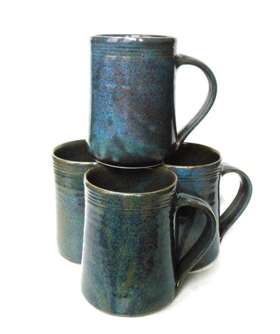 Set Of 4 Ceramic Handmade Mugs Twilight Blue Galaxy Hand