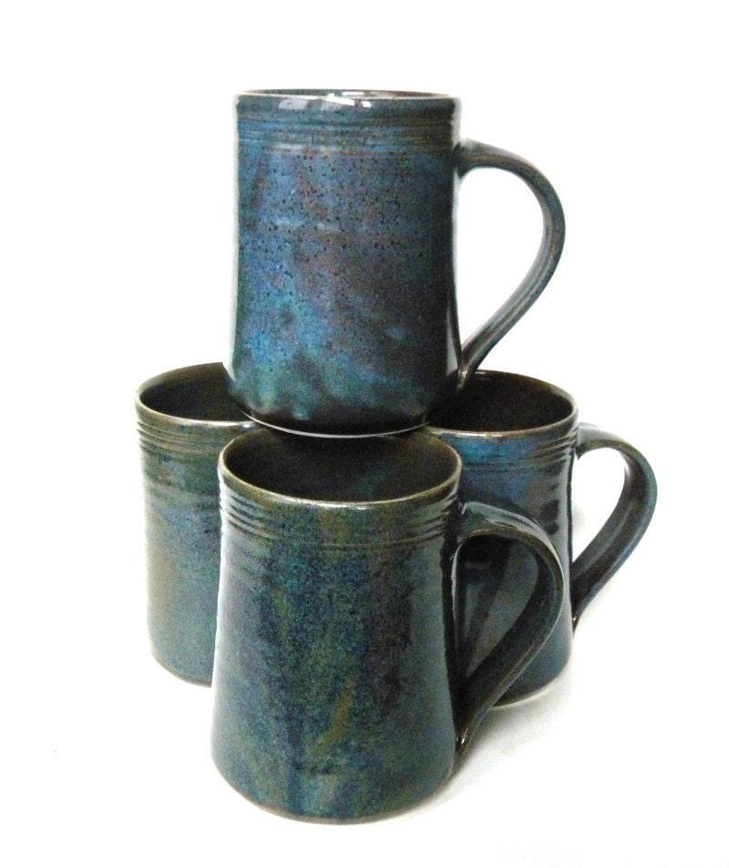 Set of 4 16 oz Handmade Ceramic Mug Twilight Blue