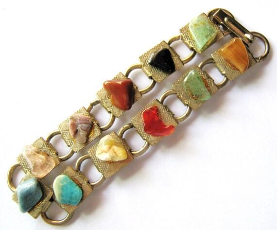 "SemiPrecious Gemstone Bracelet - 7"" long - Vintage"