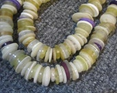 Button Shell Necklace White and Purple