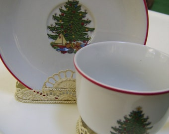 Cuthbertson Christmas Tree Pattern China Cup and Saucer
