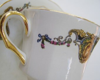 Vintage 1940s  French China Company Teacup and Saucer
