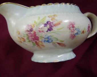 Vintage Pale Blue Floral China Creamer