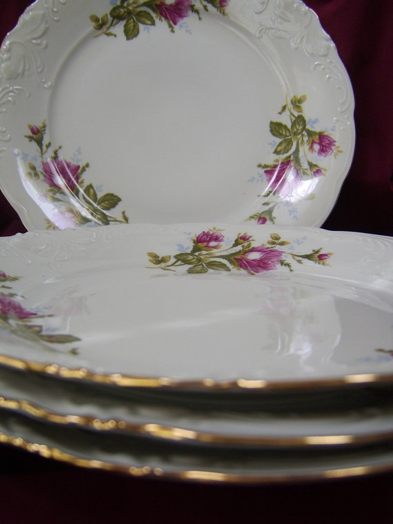 Vintage 7 inch Moss Rose China Bread or Desert Plates  Set of 4