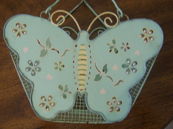 RESERVED for Yong Suk Vintage Garden Butterfly Basket Metal and Mesh Wire