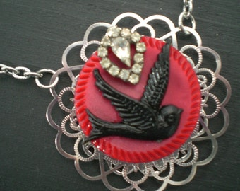 Black Bird Tweets on a Red Button Necklace
