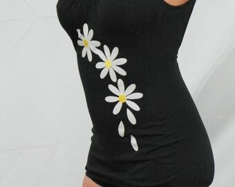 1960's White Daisy Black Bathing Suit on SALE Was 65.