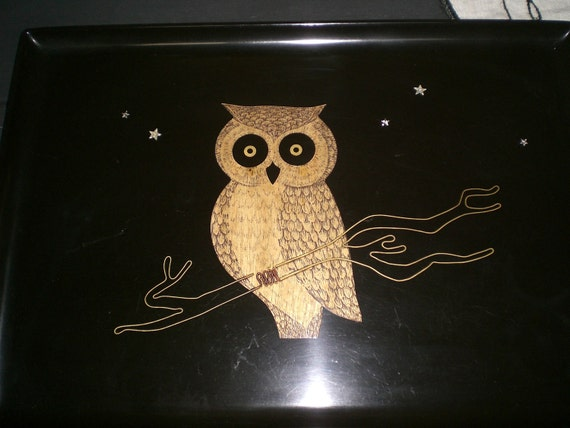 Night Owl Couroc Serving Tray