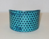 Turquoise and Navy Dots Vinyl Cuff  NIX by House of Smash
