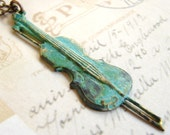 Old world violin with bow necklace grungy teal string instrument Free shipping worldwide
