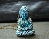Detailed buddha necklace spiritual buddhism blue ceramic bead Free shipping worldwide