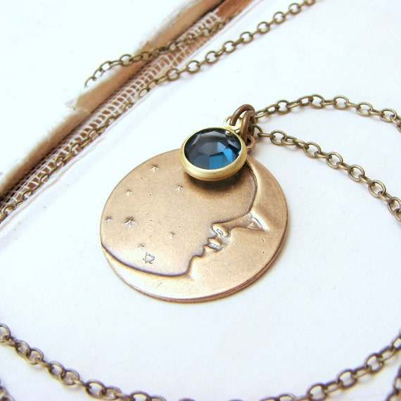 Crescent moon necklace with vintage blue swarovski and stars