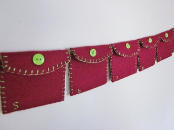 Cranberry and Lime Green Pocket Advent