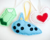 Handmade Felt Zelda Ornaments - Ocarina, Heart Piece and Rupee