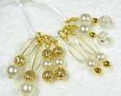 8 Beaded Stitch Markers for knitting - Golden Pearlized Clear Beads Vintage - 8 Marqueurs de point