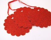 Red Glitter Tags