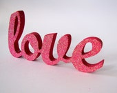 Love glitter wood sign in hot pink