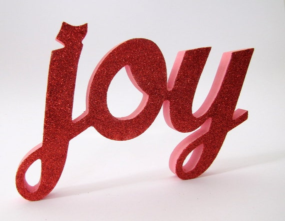 Joy word Sign in pink with red glitter