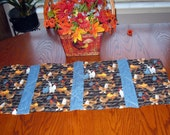 REDUCED, Quilted Table Runner, with ROOSTERS and HENS