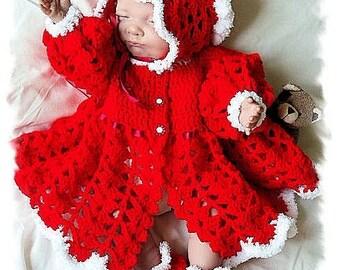 Baby Crochet Pattern Coat, Bonnet and Shoes - Noella