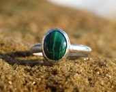 Green Malachite Ring - Handmade with Argentium Sterling Silver and Fine Silver, Stackable Ring, Bezel Set, Artisan Jewelry