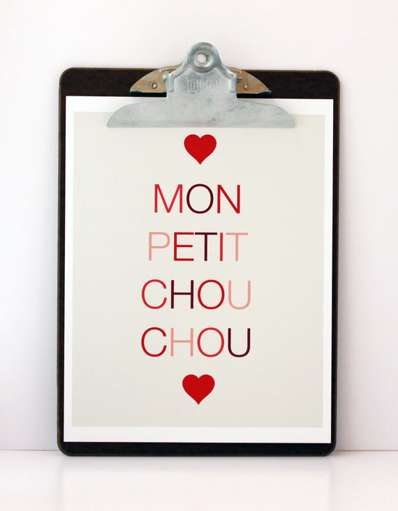SALE- Mon Petit Chou Chou Print in Red