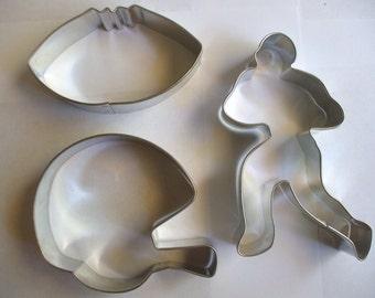 football cookie cutters set of 3 football helmet Cookie cutter, ball player/quarterback
