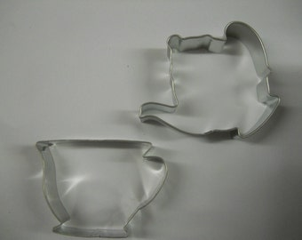 Tea Party Cookie cutter, Teapot and cup Cookie Cutter set for Red Hat or little Girls Tea Parties, teapot cookie cutter