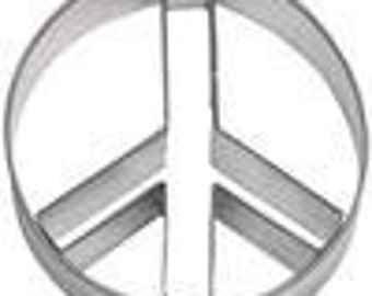 """Peace Sign Cookie Cutter 3.5"""" 2 piece set circle and inner sign piece"""