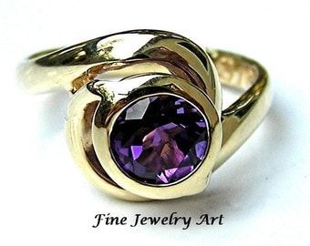 Handmade Purple Amethyst Ring in 14k  Yellow or White Gold - 3D Sculptural Unique Ring Design - Original Spin Fling Gold Ring