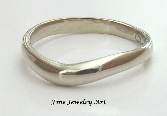 14k White Gold  Softly Curved Ring Band Unique Handmade Rounded Art Design - Wedding Ring Band or Plain Simple Right Hand Ring for Women