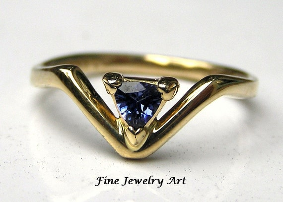 For Andre -Rare  Benitoite California Blue Gemstone in 14k  Gold V Ring - Original Handmade Chevron Ring Design Lost Wax Cast