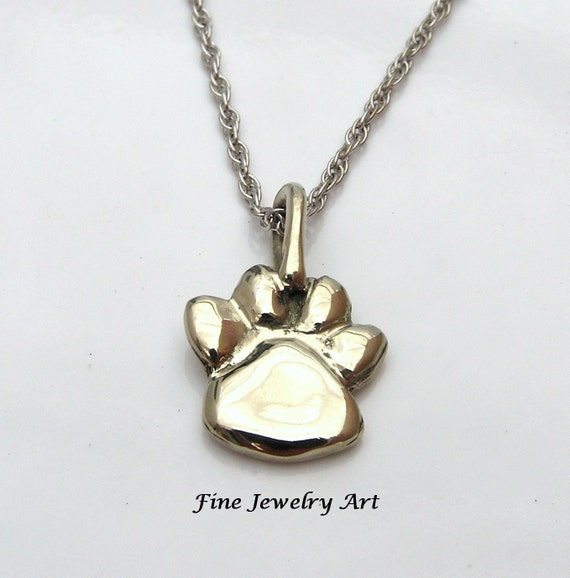 Handmade Paw Print Necklace in Solid 14k White Gold- Pet Memorial Pendant Necklace- Keepsake -Memento - Cat Paw - Dog Paw -  Fine Jewelry
