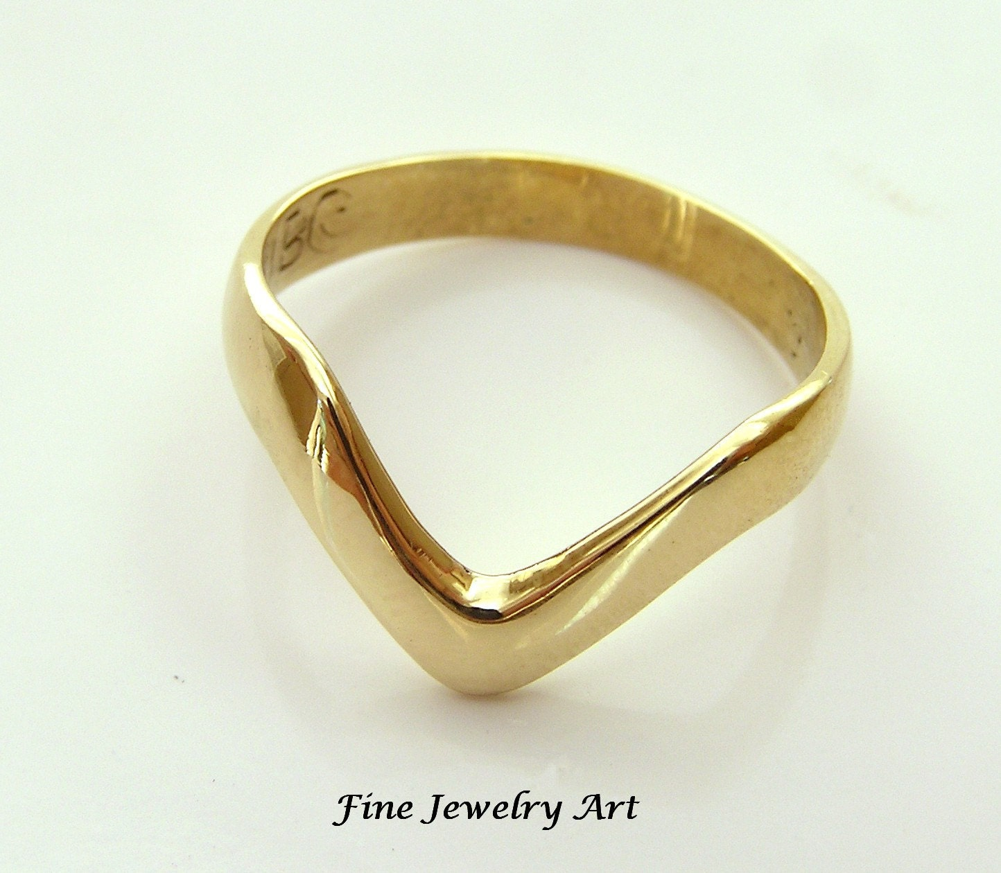 v ring chevron ring shaped band handmade in 14k yellow solid gold non - Non Traditional Wedding Rings