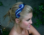Blue sequin and beaded applique on black band