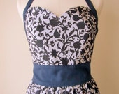 Sweetheart Apron in Navy Scroll with Free Personalization