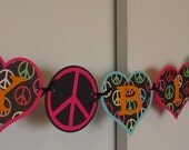 SALE - Was 28.00 - - Groovy Heart /Peace HAPPY BIRTHDAY Banner
