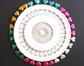 Set of 30 Colored Heart Straight Pins, corsage, scrapbooking, sewing, cards, embellishment, rainbow