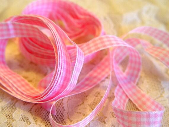 Pink Gingham Ribbon, 5 yards, 3/8 inch