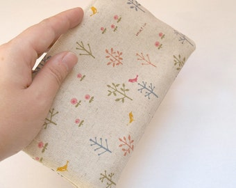 bird in a tree linen zip pouch
