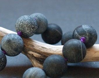 black purple crackled agate bracelet in sterling silver