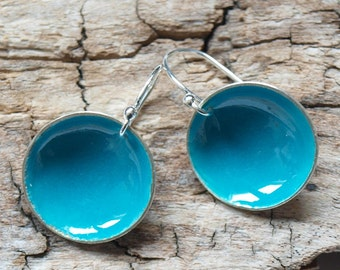 turquoise cup earings - enameled sterling silver