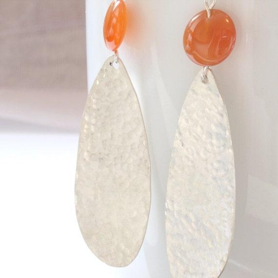 carnelian drop hammered chandelier sterling silver earrings