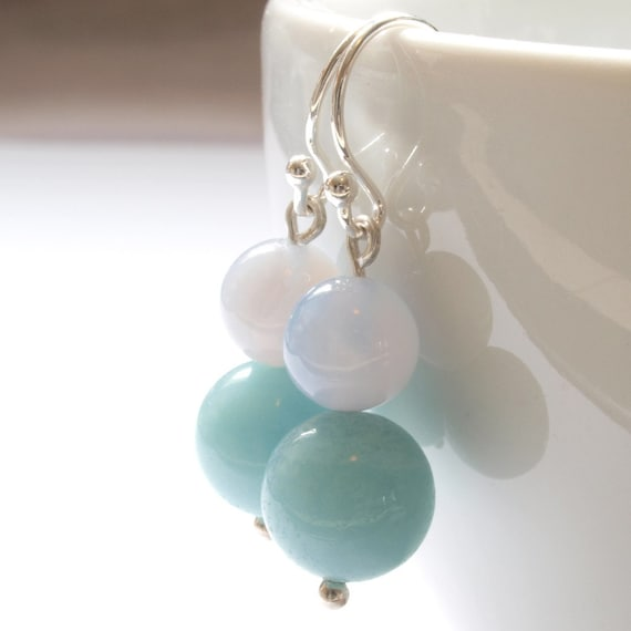 beaded aqua blue lilac ball earings in sterling silver