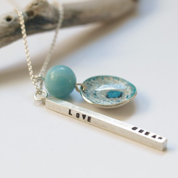 amazon light blue stamped enameled charm necklace in sterling silver